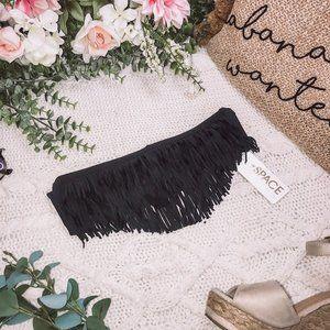 L Space Black Fringe Bandeau Bikini Top XS NWT